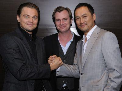 (左から)レオナルド・ディカプリオ、クリストファー・ノーラン監督、渡辺謙