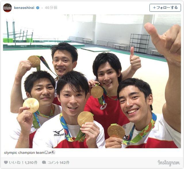 体操男子の輝く笑顔!! - 画像は白井健三選手のInstagramのスクリーンショット