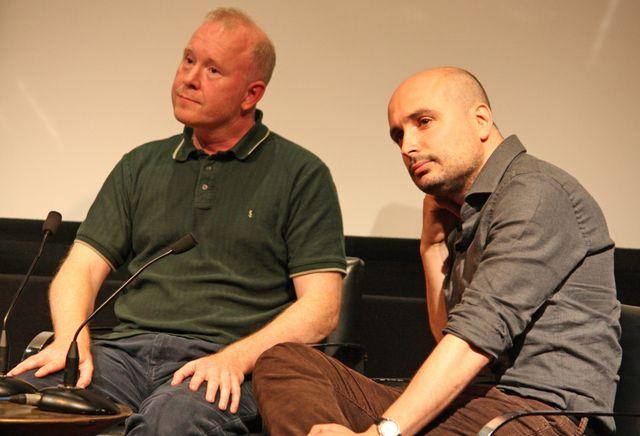 トークイベントに出席したニック・フェントン監督とピーター・ストリックランド監督