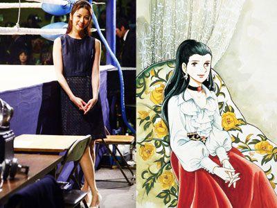 白木葉子役の香里奈。洋服は自らのデザイン&監修(左)、コミック「あしたのジョー」の白木葉子(右)