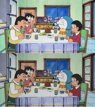 第3話で放送予定の「テストにアンキパン」より 箸がフォークに!‐(上)英語版(下)日本語版