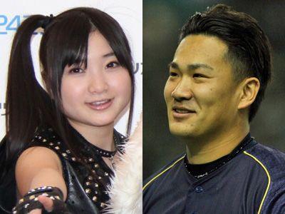 左から、ももクロ・有安杏果と田中将大投手