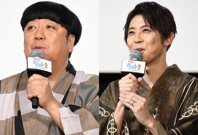 舞台あいさつに登壇したバナナマン日村勇紀と声優の梶裕貴