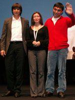 セルゲイ・ドヴォルツェヴォイ監督と、キャストのアスハット・クチンチレコフ、サマル・エスリャーモヴァ
