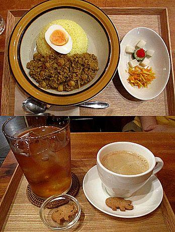 カレー+びわ茶