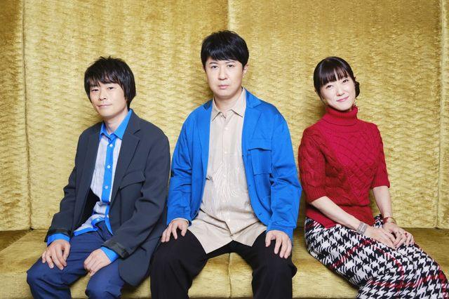 左から志村新八役の阪口大助、坂田銀時役の杉田智和、神楽役の釘宮理恵