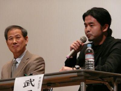 (左から)鈴木邦男氏、武田倫和監督-「南京・史実を守る映画祭」にて