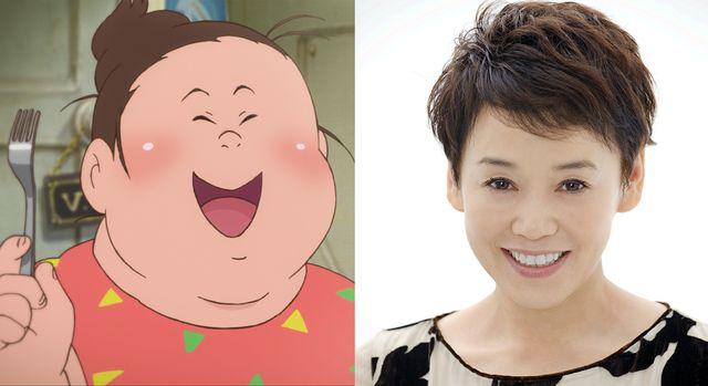 映画の主人公・肉子ちゃん(左)と声を当てる大竹しのぶ(右)