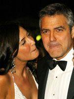 口を閉ざすジョージ・クルーニーと恋人のリサ・スノードン