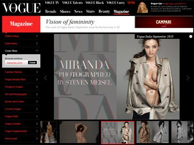ミランダ・カーのセミヌードが掲載されているイタリア版VOGUEのサイト