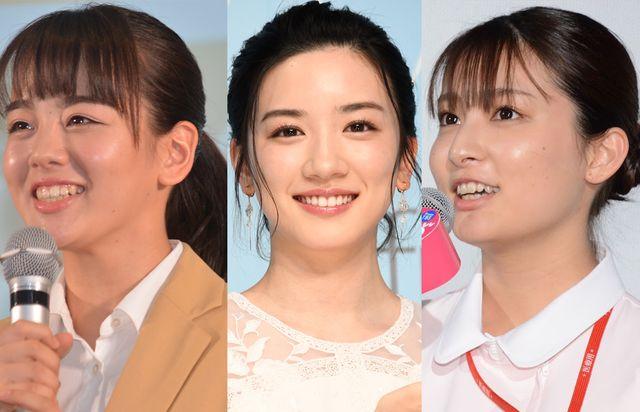 左から伊原六花(2018年に撮影)、永野芽郁(2019年に撮影)、吉川愛(2020年に撮影)