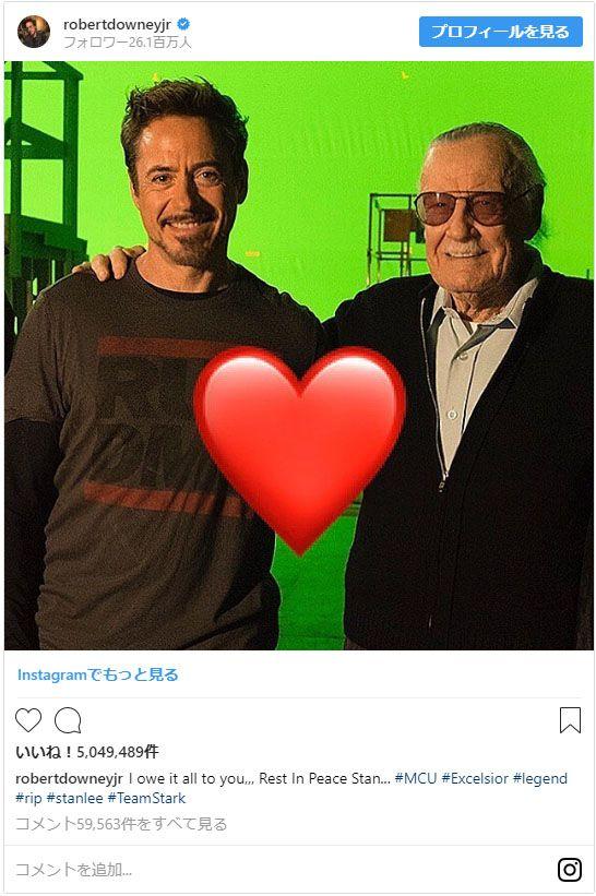 ロバートさんをはじめ、マーベル俳優たちがスタンさんへの思いをつづっている。(写真はロバート・ダウニー・Jrさん公式Instagramのスクリーンショット)