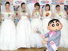近藤春菜、椿鬼奴ら花嫁希望軍団がウエディングドレスで登場!しんちゃんに婚活問われしんみり