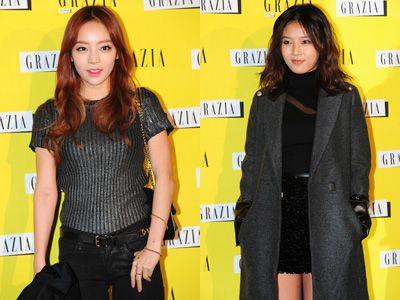 韓国版「GRAZIA」創刊パーティーに出席したKARAのハラとWonder Girlsのユビン