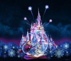 『アナ雪』の名場面が夜のシンデレラ城に浮かび上がる!新演出が来年1月から