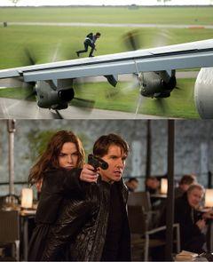 トム・クルーズ、軍用機の左翼をスーツ姿で駆ける!『ミッション:インポッシブル』第5弾新ビジュアル公開