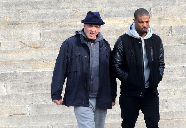 映画『クリード(原題) / Creed』撮影中のシルヴェスター・スタローンとマイケル・B・ジョーダン