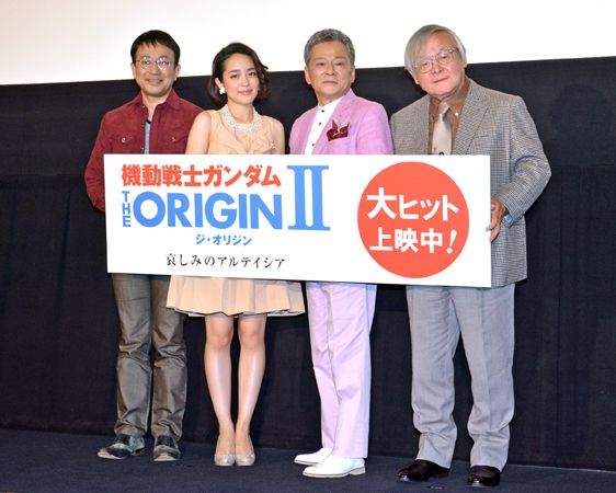 (左より)関俊彦、潘めぐみ、池田秀一、安彦良和総監督