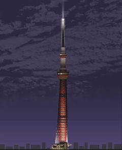 東京スカイツリーが赤い十字型ライトセーバーに!内部には634体のストームトルーパー