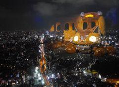 世界初の夜景!ネコバスが東京の夜空を飛んだ!