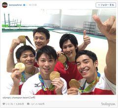 金メダルと!リオ五輪・体操男子、笑顔のオフショット!