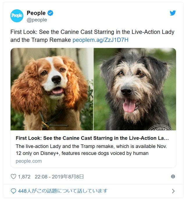レディ&トランプ役にぴったりな2匹! - 画像はPeople公式Twitterのスクリーンショット
