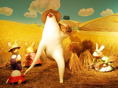 パン種やタマゴ姫が逃げる麦畑のジオラマ