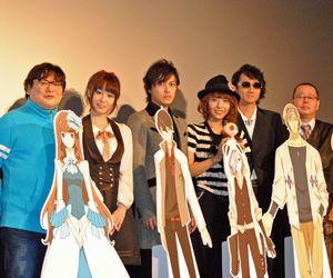 左から水島精二監督、山本希望、勝地涼、豊崎愛生、三木眞一郎、會川昇