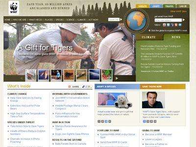 ディカプリオがカバーになっている、WWF(世界自然保護基金)オフィシャルサイト(スクリーンショット)