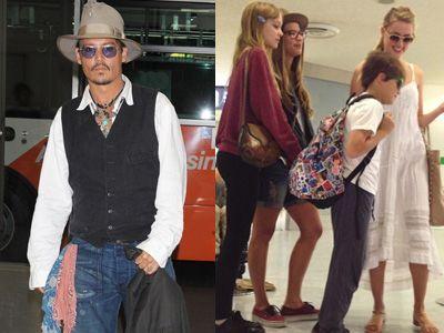ジョニー・デップが日本に来日! 同伴したアンバー・ハードと子どもたち(右)