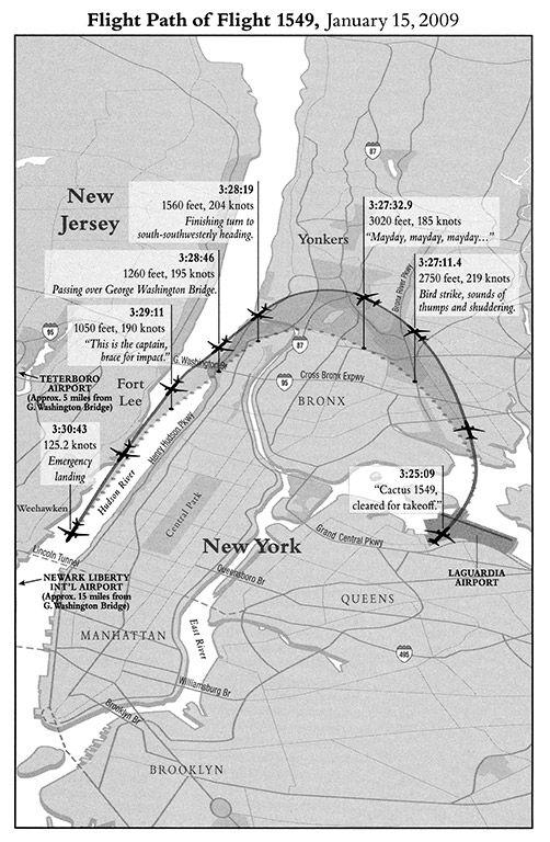 離陸からハドソン川着水までの経路-『機長、究極の決断 「ハドソン川」の奇跡』