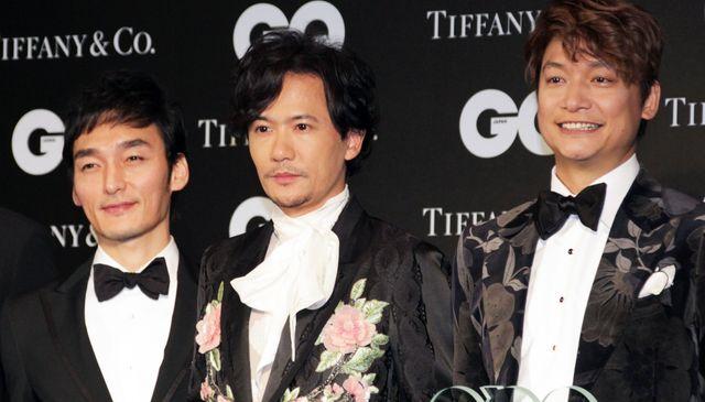 「GQ MEN OF THE YEAR 2017」に出席した草なぎ剛、稲垣吾郎、香取慎吾(2017年11月撮影)