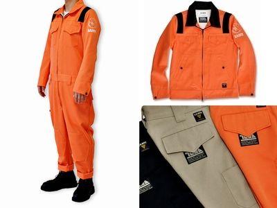 左:つなぎ 右:ジャケットとパンツ それぞれ3色展開