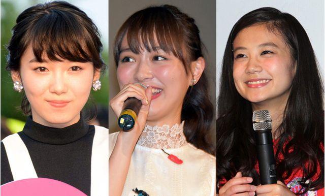 左から飯豊まりえ、内田理央、清水富美加(写真は左より6月、4月、5月に撮影したもの)