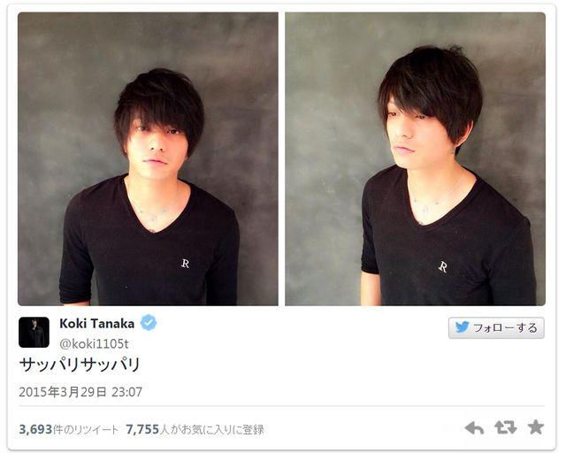 髪ばっさり! - 画像は田中聖オフィシャルツイッターのスクリーンショット