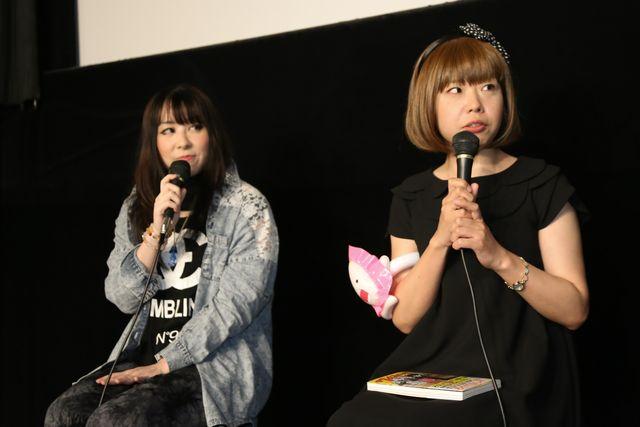 『がむしゃら』アフタートークに女子プロレスラーの安川惡斗(左)と共に来場し、親近感を抱いていることを明かしたろくでなし子