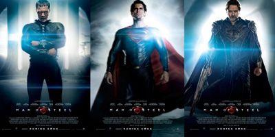 左から、マイケル・シャノン演じるゾッド将軍、ヘンリー・カヴィル演じるスーパーマン、ラッセル・クロウ演じるジョー=エル