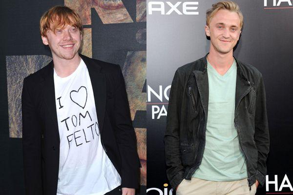 「アイ・ラブ・トム・フェルトン」Tシャツを着たルパート・グリントとトム・フェルトン