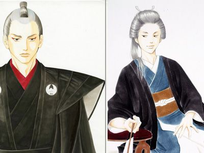 二宮和也演じる、水野祐之進(左)と柴咲コウ演じる女将軍、徳川吉宗(右)のキャラクター・ビジュアル
