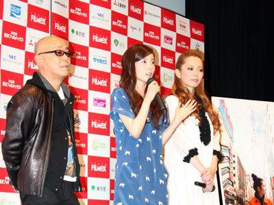 左から廣木隆一監督、蓮佛美沙子、meg