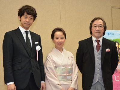 (左から)深川栄洋監督、八千草薫、武田鉄矢