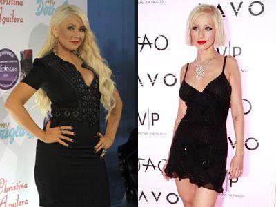 スタイル激変のクリスティーナ・アギレラ(左)2011年9月撮影 (右)2009年撮影