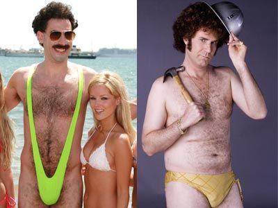 左がムタンガ着用のボラット、右が女ものの水着着用のウィル・フェレルふんするジャッキー・ムーン