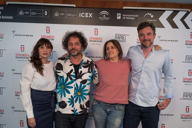 スペイン映画の現状について語った4人。(左から)マリア、エンリケ、マルタ、エステバン