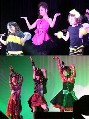 上:キュートに生歌声を披露した佐々木希 下:女装でアイドルソングを披露した松坂桃李、相葉裕樹、菅田将暉