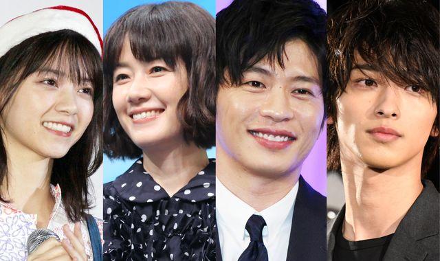左から西野七瀬(2019年撮影)、原田知世(2017年撮影)、田中圭(2018年撮影)、横浜流星(2019年撮影)