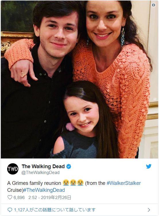 成長したカールとジュディスがローリと再会!(「The Walking Dead」公式Twitterのスクリーンショット)